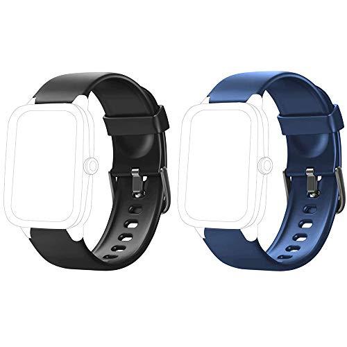 Yishark Pulseras de Repuesto para Fitness Tracker Correa ID205 ID205L ID205S ID205U Correa Repuesto de Reloj Deportivo Inteligente Pulseras Actividad Contador Pasos Calorías Podometro (Negro + Azul)