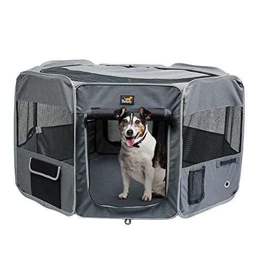 Toozey recinto per cani - Parco per cuccioli, recinto per gatti, box per cani - Cassa per cuccioli per uso interno ed esterno, con zip e rete rimovibile - Tessuto Oxford 600D (Grigio)