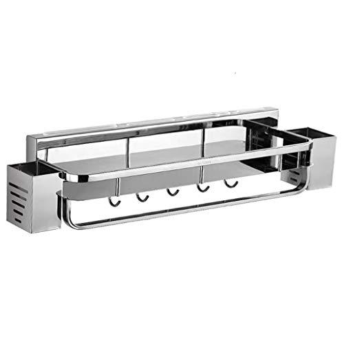 JSY Metaal 304 roestvrijstalen keuken opslagrek wandmontage punch-vrije meshouder kruiden supplies rack messen Lege messenblokken (Color : Metallic, Size : A(40cm))