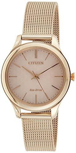 Citizen Reloj Analógico para Mujer de Cuarzo con Correa en Acero Inoxidable EM0503-83X