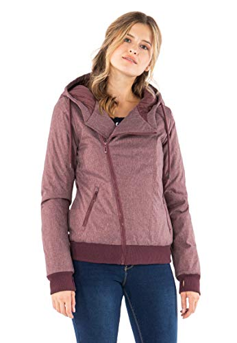 Sublevel Damen Winter-Jacke mit Kapuze warm gefüttert Dark-Rose M