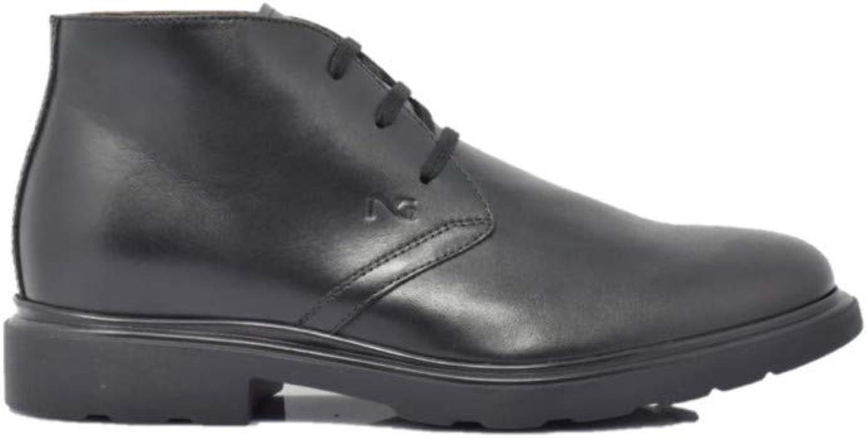black Giardini Men's Ankle Boots in Black Leather A800446U   100