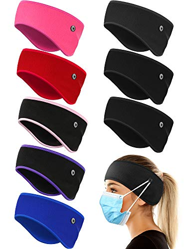8 Pieces Winter Headband with Button Ear Warmer Headband Ear Cover Headwrap Face Cover Holder Hairband for Women Men