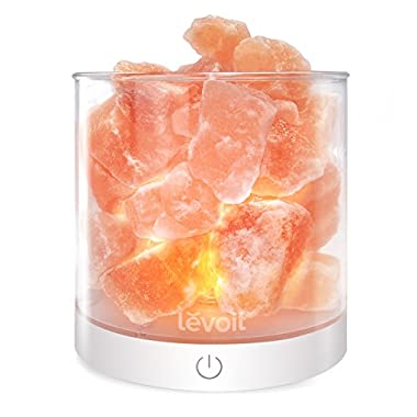 Levoit Cora Himalayan Salt Rock Lamp, Natural Hymalain Pink Crystal Salt Lamps, USB Himilian Sea Salt Night Light with Touch Dimmer Switch, 3 Bulbs, UL-Listed Cord & Luxury Gift Box