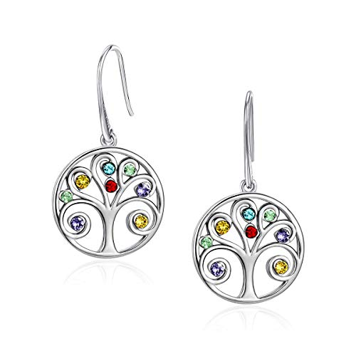 CRYSLOVE Tree of Life Earring For Women 925 Silver Birthstone Crystal Pendant Family Tree...
