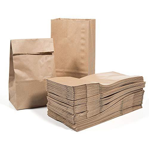 Vordas 100 Stücke Braune Papiertüten Papier-Beutel Papiertüten Kraftpapiertüten 17 x 9 x 5 cm - 70 g./m2, Ideal für Geschenktüten Ostertüten Adventskalender Brot Belegte