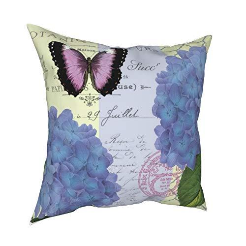 Funda de almohada moderna vintage con hortensias y mariposas, para sofá, decoración del hogar, ideal para regalo, fundas de cojín con cremallera, 45,7 x 45,7 cm
