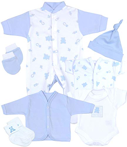 Babyprem Frühchen, kleine Frühgeborene Kleidung 7-teiliges Geschenkset BLAU 38-44cm