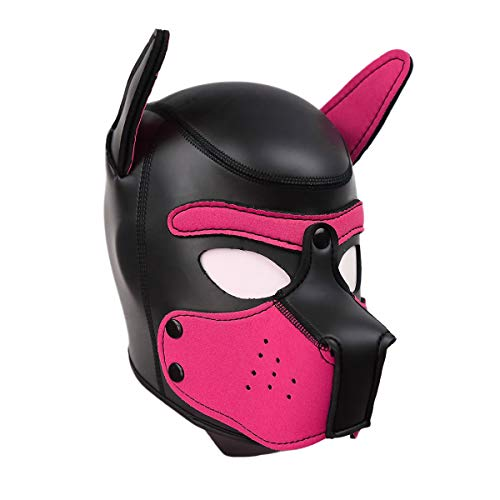 SIUNRIYO Halloween-Kostüm aus Latex-Gummi Role Play Dog Mask Puppy Cosplay Voller Kopf mit Ohren in 10 Farben Einheitsgröße