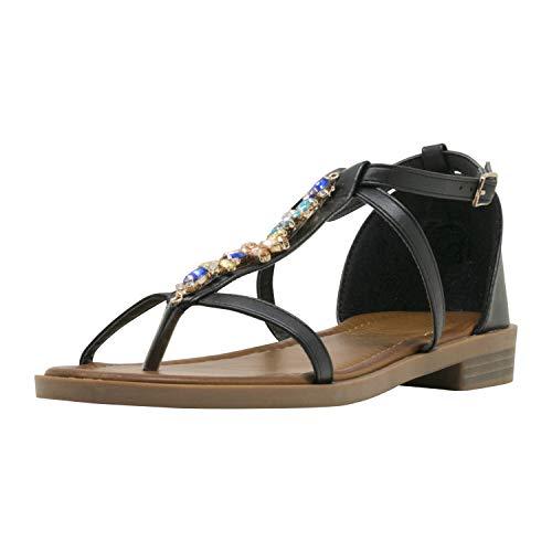 Fitters Footwear That Fits Donne Sandalo Mona PU Flip Flop con zirconi (45 EU, Nera)