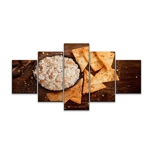 XEPPO 5 Panels Wall Art Print On Canvas Creamy Crab dip with Baked pita Chips Shrimp Dish Stock Pictures Modern Abstract Picture Poster for Home Decor Stretched and Framed Ready to Hang (60''Wx32''H)