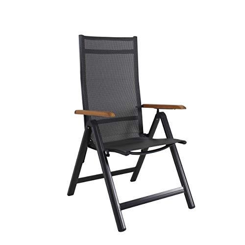 Chicreat - Silla plegable de aluminio con reposabrazos de acacia con certificado FSC y respaldo alto reclinable con 9 posiciones, textileno 4 x 4, Carbón/Acacia