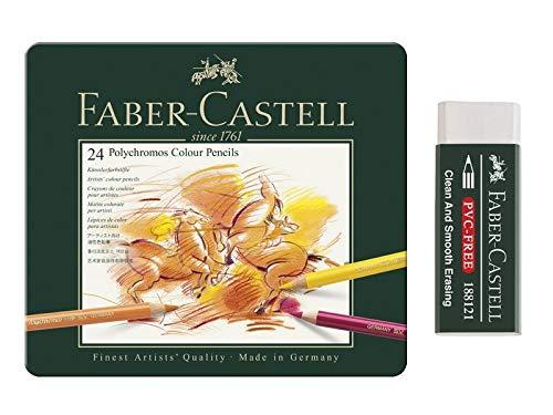 Faber-Castell - Lápices de colores Polychromos caja metálica de 24 piezas y goma de plástico sin PVC