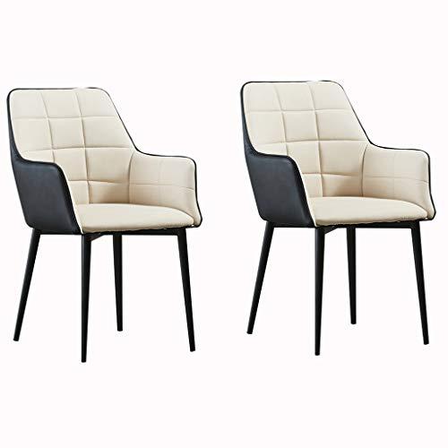 ADGEAAB - Set di 2 sedie da pranzo con poltrona da soggiorno impermeabile in pelle PU con gambe in metallo, schienale alto, seduta morbida (colore: beige e nero)