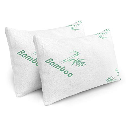 Pillows for Sleeping - 2 Pack Cooling Shredded Memory Foam Bed Pillows with Bamboo Hypoallergenic...
