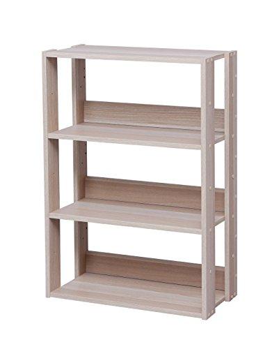 Marca Amazon - Iris Ohyama OWR-600 - Estante abierto de madera con 3 compartimentos y armario, 3 estantes de madera, color marrón (roble claro), 60 cm