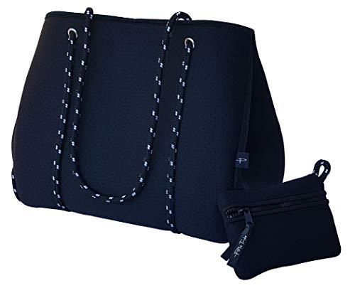 Light Designer Tote Bag for Women, Neoprene Shoulder Carry Hobo Bag, Large & Durable in Stallion Black