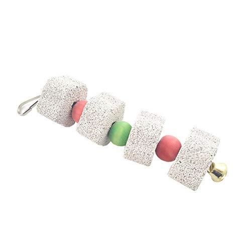 Romote Parrot Chew Toy Praktische Zähneknirschen Hängende Stein mit Glocke Durable Lava Calcium-Block Vögel Schnabel Stein Vogelbedarf