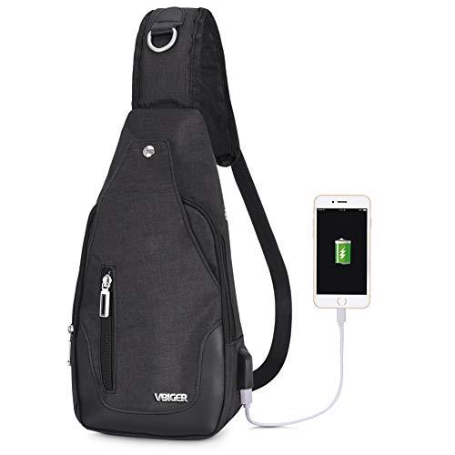VBIGER Zaino Monospalla Uomo Zainetto Uomo Zaino a Tracolla in Tela Zaino Ricaricabile USB Zaino Casual Borse a Tracolla Borsa a Tracolla per Esterno