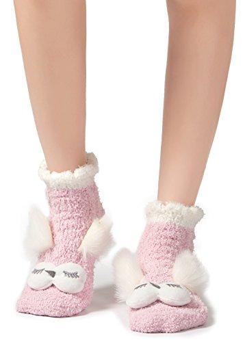 Leotruny Women's Winter Cute Animal Ankle Slipper Fuzzy Socks (Owl-Pink)