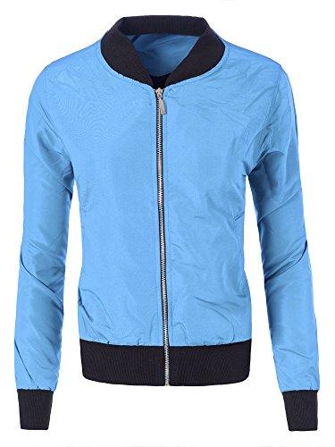 Diva-Jeans N110 Damen Jacke Blouson Übergangsjacke Pilotenjacke Bomberjacke Fliegerjacke, Größen:XS, Farben:Hellblau