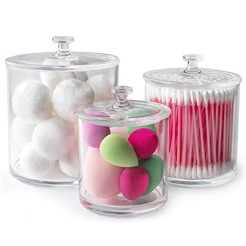 Superior Quality Plastic Apothecary Jars | Set of 3 by Luxe & Frill. Bathroom Organizer, Clear Canister/Container Good for Q-tips and Candy
