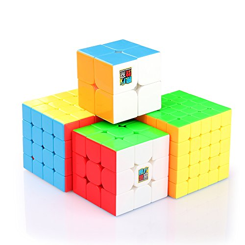 Coogam Moyu Cube Bundle 2x2 3x3 4x4 5x5 Speed Cube Set Meilong Pack Stickerless Brain Teaser Puzzle Toy for Kids Adults Challenge