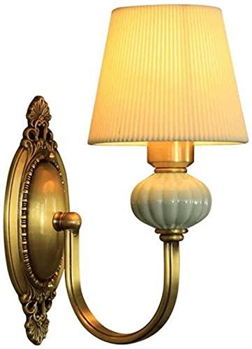 Lámpara de Pared de Moda E14 Pantalla de Tela Lámpara de Pared Decorativa American Elegant Lámpara de Pared Metal Cobre Lámpara de Pared Simple Adecuado para Pasillo Sala de Estar Balcón