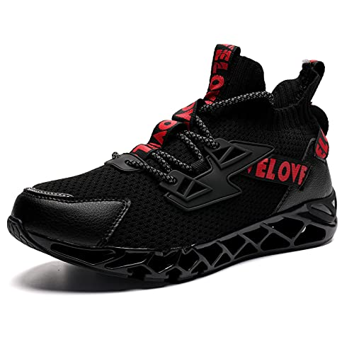 Scarpe da Qinnastica da Uomo Scarpe da Ginnastica Corsa Outdoor Fitness Casuale Respirabile Mesh Resistente Antiscivolo Sport Fitness Sneakers(Nero/Rosso 44 EU)