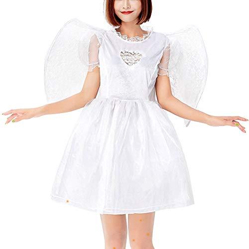 Disfraz De Ángel Adulto Cosplay Vestido con Alas Ropa De Carnaval Halloween Blanco Un tamaño