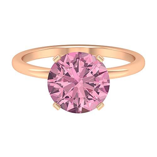 Anillo de compromiso de oro macizo de oro macizo, piedra de nacimiento de octubre, con forma redonda, 9,5 mm, de turmalina rosa, de 3,35 quilates, 14K Oro rosa, Size:EU 70