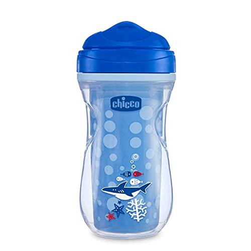 Chicco Active Cup Bicchiere Antigoccia Bambini 266 ml, 1 Tazza Biberon 14+ Mesi per Imparare a Bere, Tazza Termica con Beccuccio Ergonomico Anti Morsi e Valvola Facili Sorsi, senza BPA -Blu o Azzurro
