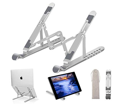 """Laptop Stand - Adjustable Aluminum Laptop Riser Laptop Holder for Desk, Portable Foldable Ventilated Cooling Notebook Stand for MacBook Pro/Air, HP, Lenovo, Sony, Dell, More 10-15.6"""" Laptops, Tablet"""