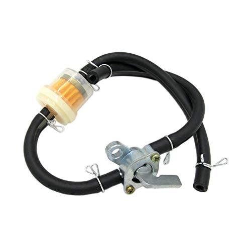 ASFD ATV 70cc 90cc 100cc 110cc Filtro de Gasolina + Interruptor de Combustible + Grifo de tubería de Combustible con Abrazadera para Tanques de Combustible (Negro y Transparente)