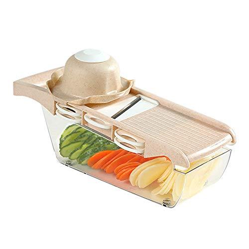 Hachoir à Aliments hacheurs et découpeurs de Nourriture trancheur de légumes de Cuisine avec 6 protège-Mains de Lame en Acier Inoxydable interchangeables conteneur de Rangement Jaune