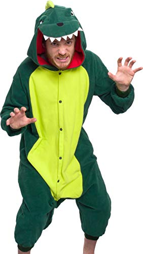 Silver Lilly Unisex Adult Pajamas - Plush One Piece Cosplay Animal Dinosaur Costume (Green, XX-Large)