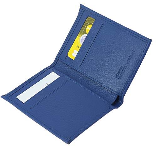 FASHIONGEN - Porte Cartes en Cuir Sawsan - Bleu Cyan