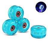 MonLiya - 4 ruedas traseras de 54 mm con luz, rodillo de patinaje de goma elástica + rodamientos 90A ruedas para monopatín profesional para niños pequeños