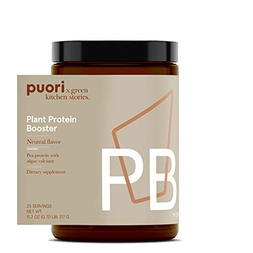 Puori Vegan Plant Protein Enhancer Powder - 25 Servings - Neutral Flavor Pea Protein with Algae Calcium for Essential Amino Acids - Dairy-Free, Vegetarian, Non GMO