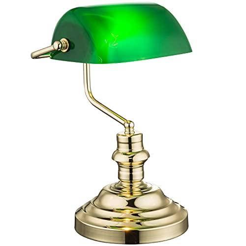 Lámpara de escritorio de latón, lámpara de mesa, lámpara de banquero, pantalla retro, altura 36 cm, lámpara de noche, pantalla de color verde