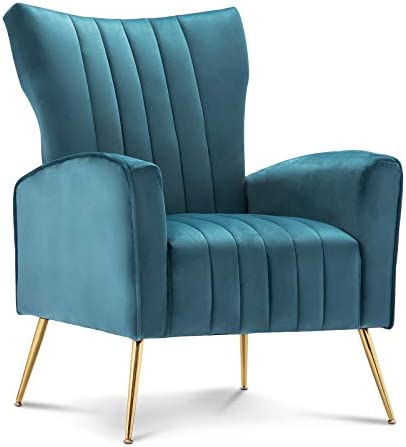 Best Artechworks Curved Tufted Accent Chair with Metal Gold Legs Velvet Upholstered Arm Club Leisure Mode