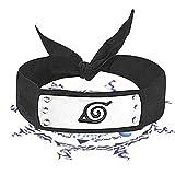 Naruto Headband with Metal, Leaf Village Ninja Headband Kakashi Cosplay Naruto Headband for Kids Costumes Black Headband