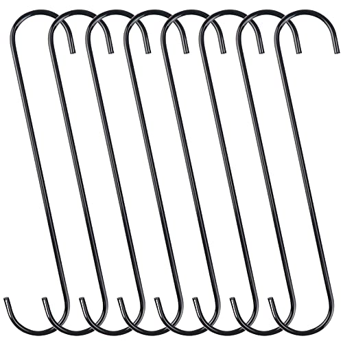 DINGEE 8 Pack Extra Large 10 inch S Hooks for Hanging,S Shaped Hook Heavy Duty,Black Long S Hooks for Hanging Plant,Basket,Tree Branch,Closet,Garden,Pergola,Indoor Outdoor Uses