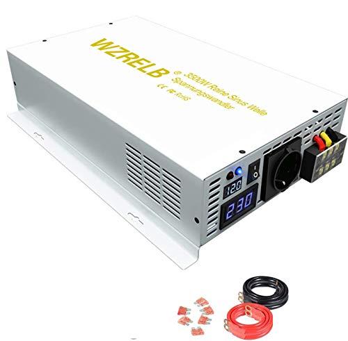 3500W Spannungswandler 12V 230V WZRELB Reiner Sinus Wechselrichter Hauptstromversorgung Auto Inverter Generator für Wohnmobile, Autos, Camping, Reisen