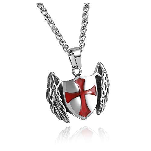 Zysta - Collana da uomo con croce dei templari incrociata, armatura di Dio, Ordine del Tempo, Medaglia, Portafortuna, Coraggio con catena 61 cm, con scatola regalo
