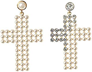Pearl Earrings Fashion Expanded Temperament Diamond Long Earrings Jinlyp (Color : Pearl Cross)
