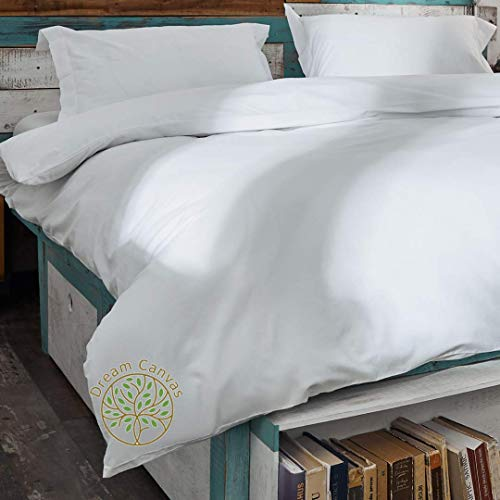 Kotonia Duvet Cover King Size - King Size White Cotton Bedding Set and Oxford White Cotton Pillow Cases Soft Sateen Quilt Covers King Size KingSize Duvet Cover Sets Cotton Pillowcases Bed Set Kingsize