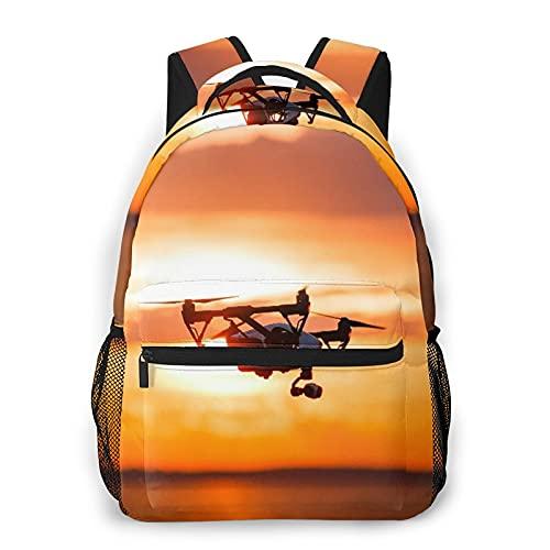 SXCVD Lässiger Rucksack,Quadrocopter Drone Remote Control Dunkle Silhouette,Business Laptop Rucksack Schultasche,Wanderreise Tagesrucksack für Herren,Damen,Teenager