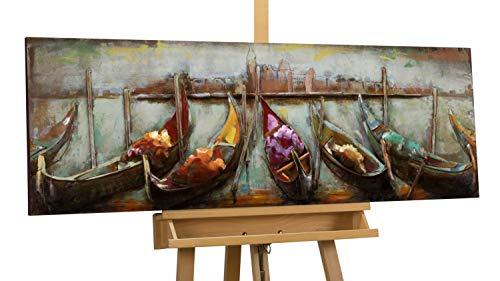 Kunstloft Extravagante Relieve de Pared de Metal Cerca de la Distancia' 120x40x6cm | Decoración XXL Escultura | Góndolas mar Agua Venecia | Cuadro Hecho a Mano Imagen Mural de Arte Moderno