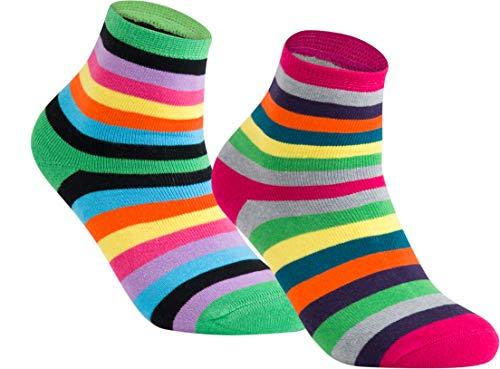 gigando | Colored Thermo Socks with Dots and Stripes | bunte Thermo Socken für Damen | warme, kuschelige Strümpfe mit weichem Bund | Geschenkbox | 2 Paar | green stripes & pink stripes | 35-38 |